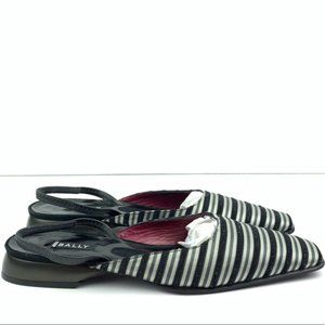 New Bally Flats Sz 7 Black Pewter Metallic Striped